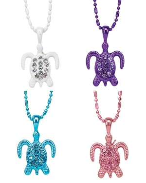 Rhinestone Turtle Alloy Finished Ball Chain Necklace Assorted