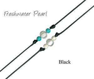 Freshwater Pearl W/Round Howlite Bead Anklet on Black Cord Assorted