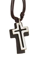 Open Cross With Leather Back On Double Cord Vintage Necklace