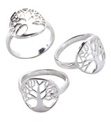 Tree Of Life Slvr Plated Ring (Assorted Sizes 7, 8 & 9)