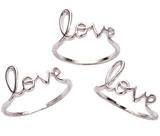 "Rhodium Plated ""Love"" Ring Assorted Sizes 7-8-9"