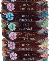 Beaded Macrame Adjustable Slide-Knot Bracelet With Coco Name Drop Plate Assorted
