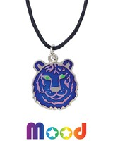 Tiger Head Mood Pendant Necklace On Black Cord