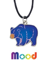 Bear Mood Pendant Necklace On Black Cord
