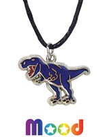 T-Rex Mood Pendant Necklace On Black Cord