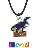 T-Rex On A Base Mood Pendant Necklace On Black Cord