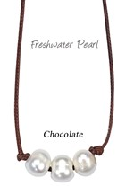 Inline 3 Piece Freshwater Pearl Bead Necklace On Chocolate Cord
