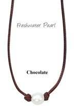 Freshwater Pearl Bead Necklace on Chocolate Wax Cord