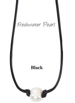 Freshwater Pearl Bead Necklace on Black Wax Cord