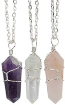 Wrapped Point Quartz Necklace on Silver Chain Assorted