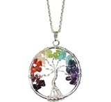 Chakra Tree of Life Pendant on Silver Chain