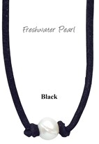 Freshwater Pearl Bead Choker Necklace on Black Suede Cord