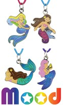 Mermaid Mood Pendant on Color Cord Necklace Assorted