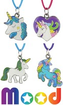 Unicorn & Heart Mood Pendant on Color Cord Necklace Assorted