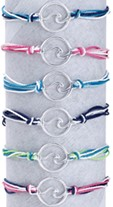 Circle Wave on Multi Strand Cord Slide-Knot Adjustable Bracelet (A) Assorted