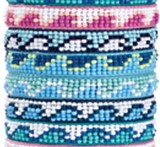 Mini-Seed Bead With Wave Pattern Adjustable Slide-Knot Bracelet Assorted