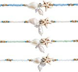 Seed Bead With Howlite Starfish And Nassau Shell Anklet Assorted