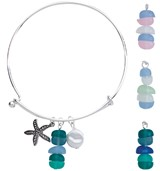 Sea Glass With Starfish Charm Slide Bracelet Assorted