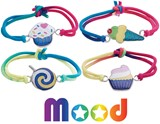 Cup Cake Ice Cream Candy Mood Bracelet on Stretch Tie Dye Cord Assorted