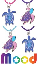 Turtle Mood Pendant on Color Cord Necklace Assorted
