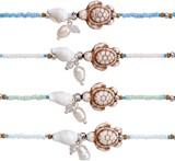Seed Bead With Howlite Sea Turtle And Nassau Shell Anklet Assorted