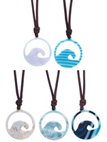 Resin Wave Pendant on Wax Cord Necklace (B) Assorted