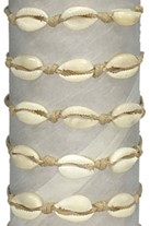3 Cowry on Wax Natural Cord Adjustable Slide-Knot Bracelet Assorted