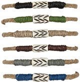 Hemp With Colored Cord With Bone Bead Slide-Knot Adjustable Bracelet Assorted