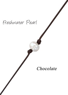 Freshwater Pearl Bead Anklet on Chocolate Cord