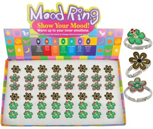 Daisy Hibiscus Flower Mood Rings Assorted (48 Rings Pre-Packed in Box)