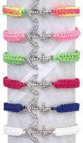 Rhinestone Rope Anchor Macrame Adjustable Slide-Knot Bracelet (A) Assorted
