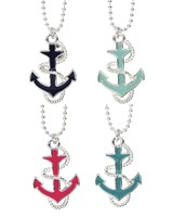 Enamel Anchor W/Silver Rope Accent Necklace Assorted