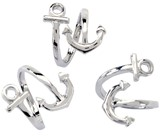 Anchor Wrap Rhodium Plated Ring Adjustable