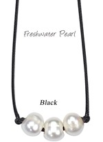 Inline 3 Piece Freshwater Pearl Bead Necklace On Black Cord
