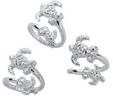 Double Turtle Wrap Rhodium Plated Ring Adjustable