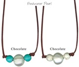 Freshwater Pearl W/Round Howlite Bead Necklace on Chocolate Cord Assorted