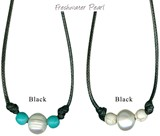 Freshwater Pearl W/Round Howlite Bead Necklace on Black Cord Assorted