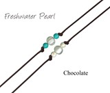 Freshwater Pearl W/Round Howlite Bead Anklet on Chocolate Cord Assorted
