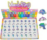 Adjustable Dolphin Mood Rings Assorted (48 Rings Pre-Packed in Box)