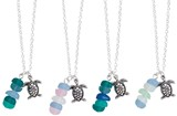 In-Line Sea Glass With Sea Turtle Pendant Necklace Assorted