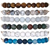 6MM Stone Bead Adjustable Slide-Knot Bracelet (A) Assorted