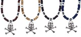 Pirate Skull & X-Bones Pendant On Adj Black Cord Hematite Necklace Assorted