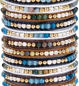 4MM SEMI-PRECIOUS & HOWLITE ADJUSTABLE SLIDE KNOT BRACELETS (B) ASSORTED