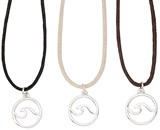 Circle Wave Pendant on Cotton Cord Necklace Assorted