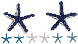 Raised Stone Small Starfish Post Earrings Assorted