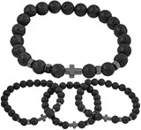 Lava Bead With Hematite Cross Stretch Bracelet Assorted