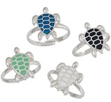 Enamel Sea Turtle Pendant Adjustable Ring Assorted