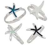 Enamel Star Fish Pendant Adjustable Ring Assorted