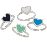 Enamel Heart Pendant Adjustable Ring Assorted