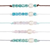 Facet Bead With Freshwater Pearl On Color Cord Anklet Assorted